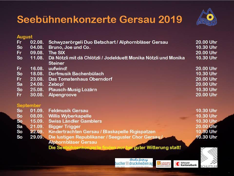 Seebühnenkonzerte Gersau 2019